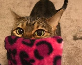 Catnip Square - Fleece Cat Toy - Pink Leopard Print