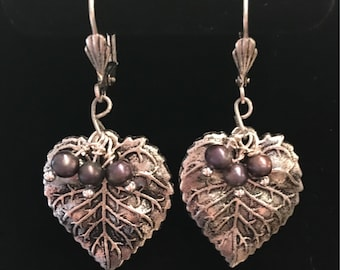 Antique Silver Pewter Leaf and Fresh Water Pearl Earrings