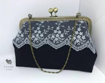 Vintage style handbag in black Duchess
