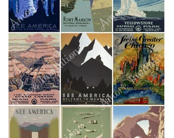 USA Travel Posters Digital Collage Sheet, Clip Art Images Scrapbook, atc, JPEG  PDF  Instant Download  Downloadable  Cu  Commercial Use