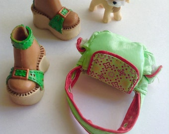 Adorable Shoes for Blythe and Handbag, fashion doll apparel, Blythe Barbie My Scene Liv  accessories, Greece