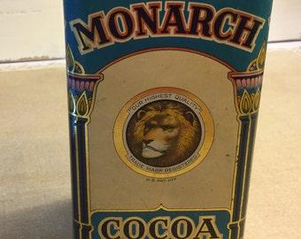 Collectible Monarch Cocoa Tin very good vintage condition Collectible/Decor FREE USA Shipping