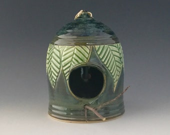 One of a Kind Hand Carved Birdhouse Wheelthrown by NorthWind Pottery