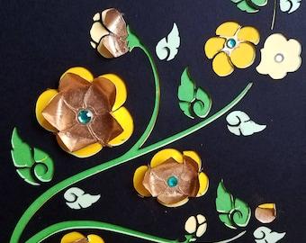 "Gold Leaf Die Cut Thai Flower Wall Art | Stacked and Layered Die Cut Thai Flower Illustration Wall Décor | 8"" x 10"" Wall Art"