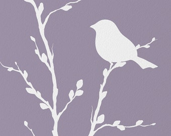 Bird On Branch Botanical Wall Art for Home or Office, Nature Bird Wall Decor, Lavendar Purple 8 x 10 Print