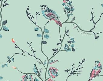 Art Gallery Vie De Boheme Sunrise 100% Cotton Fabric, Mint Bird Fabric