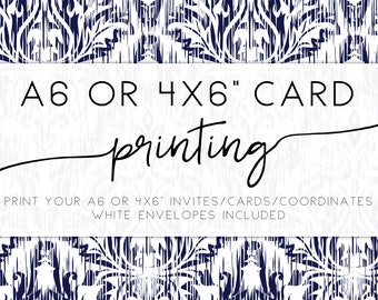 """PROFESSIONAL PRINTING for any A6 or 4 x 6"""" invitation or co-ordinates, free white envelopes, 4 x 6"""" or A6 card printing"""