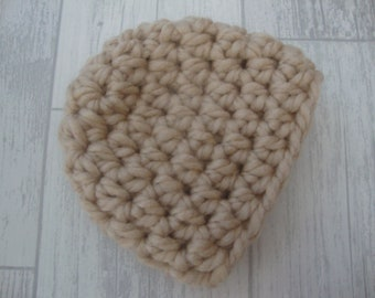 Beige Hand Crocheted Baby Hat - Crocheted Baby Beanie - Chunky Crocheted Baby Hat - Chunky Crochet Baby Beanie - Choice of Colours