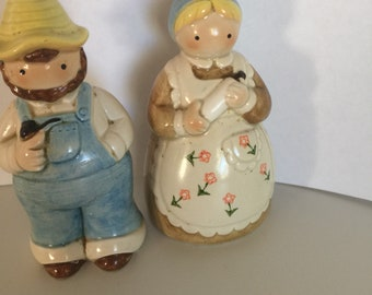 Otagiri farmer and wife salt and pepper shakers made in Japan
