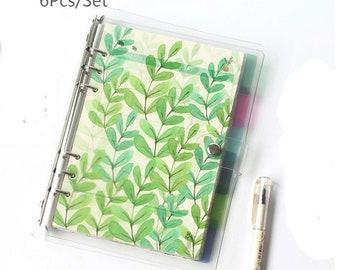 Set of 6  Flower & Leaf A5/A6/A7 Planner dividers, Semi-transparent Plastic Dividers, Personal dividers / Dashboard, Pocket dividers