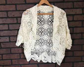 CLOSING SALE Vintage 90s does 70s lace crochet shrug cardigan