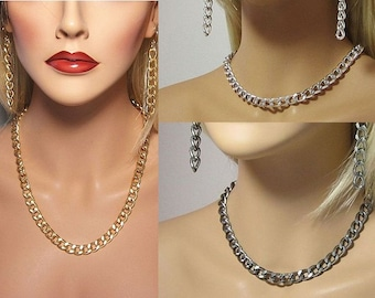 Gold, Silver or Gun Metal Big Links Aluminum Chain Necklace or Wrap Bracelet