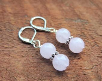 Rose Quartz Earrings, Chakra Earrings, Healing Meditation Earrings, Yoga Earrings, Gemstone Earrings