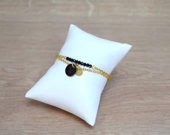 Black sequin Gold Bracelet
