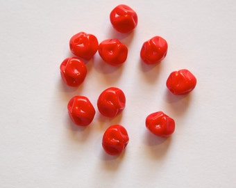 Vintage Red Baroque Pinched German Glass Beads grm010A