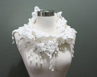 Crochet Snowflake Scarf, Cowl Neckwarmer, Crochet Snowflake Scarf with Pom Pom Fringe