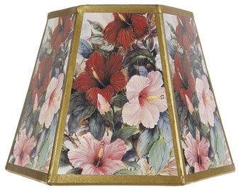 Floral Printed Panel 8 Inch Hex Clip On Lampshade