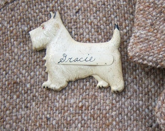 Antique 30s 40s dog brooch / Scottie Westie Scottish Terrier / Hand painted, pressed tin / Gracie Grace novelty name brooch, 2.5 inches