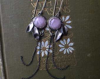 Rose Quartz Growth Earrings - Silversmith - Metalsmith Jewelry
