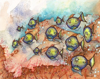 School of Fish (Limited Edition) Marine Life Fine Art Print for your bathroom, beach house or cottage