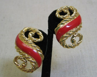 Vintage Trifari Clip on Earrings, Red Enamel on Gold Metal