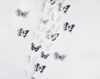 18 butterflies, 3D, black / white