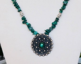 Free Shipping! Repurposed Vintage Sterling and Malachite Brooch into Pendant with Malachite Chip Necklace