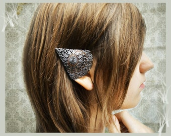 SALE Dark Elf Ear Cuffs Ornate Black Pewter Filigree Elven Ear Tip Covers Two piece set Non  pierced No pierce Were 32.00
