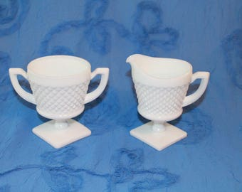 Milk Glass Creamer/Sugar Serving Set English Hobnail Pattern Home decor