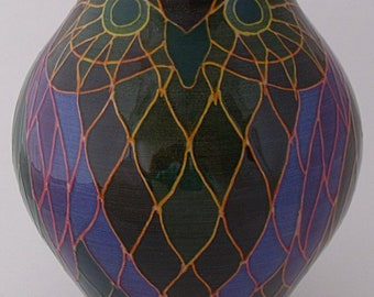 Dennis Chinaworks Pottery Owl Vase Designed By Sally Tuffin - Trial Piece