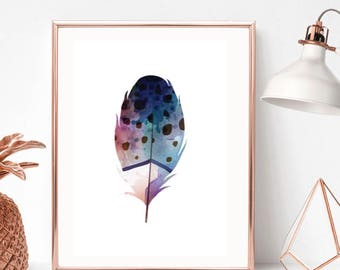 Feather Watercolour Print/Home Print