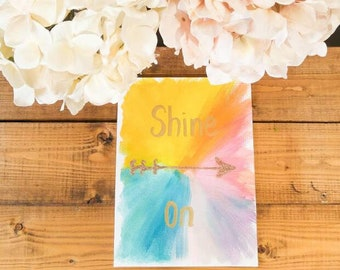 Shine On - Colorful Inspiration wall art | Gold Lettered sign with quote | Bedroom home decor | Motivational arrow wall art