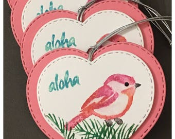Handmade Watercolored Gift Tags Hawaiian Bird Aloha Pink Heart Valentines Day Easter All Occasion Party Favor set of 4