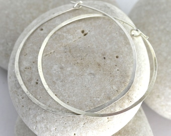 Large Hoop Earrings in 14K White Gold or Sterling Silver - White gold hoops
