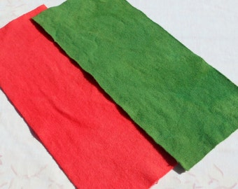 Hand dyed wool fabric - Watermelon Pink or Leafy Green wool - rug hooking - applique and crafts - quilting - primitive - 09