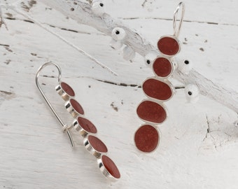 Red long earrings, 925 silver red earrings, Oval dangle earrings, Red contemporary earrings, Long dangle earrings, Israel silver earrings