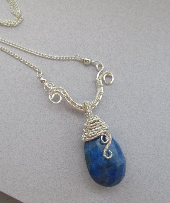 Lapis Lazuli Woven Wire Wrapped Briolette Pendant N423182
