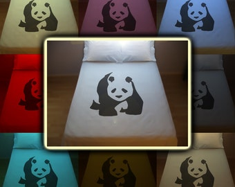 Bear Panda Bedding Duvet Cover Queen King Twin Size, Queen Bedding, King Bedding Twin, Kids Queen Duvet Cover, Linen Cotton Sheet Set