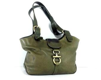 Olive Green Vintage Leather Shoulder Bag - 90s Leather Slouchy Satchel