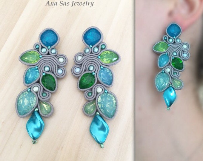 Statement blue and green soutache earrings, resin and crystal cabochon, wool gray soutache, Swarovski pearls