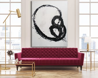 Black and White Abstract Painting / Original Art / Black and White Texture Painting / XL Black and White Art
