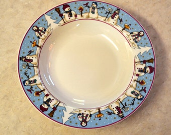 Snowmen Serenade II, DINNER Plate, Meiwa Table Art, 1997, Snowman, Holiday Christmas Winter Dishes