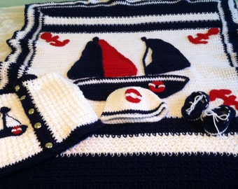 Made to Order Anchors Away Sailboat, Life Preserver, Afghan, Sweater Hat and Boat Shoe New Baby Shower gift