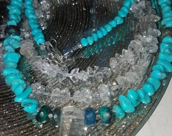 Authentic Turquoise Chrysocolla Necklace Fine Silver Terminated Water Clear  Lemurian Seed Crystal Gemstone Necklace Empath Boho Trending