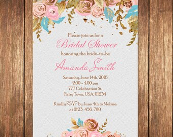 Floral Bridal Shower Invitation Printable Boho Bridal Shower Invite Rustic Bridal Shower Bohemian Bridal Shower Watercolor Flowers