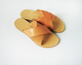 Handmade Criss cross Leather Sandals in Natural colour Leather - More colours available