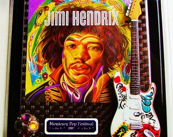 HENDRIX 3D ART Assemblage Monterey Pop Festival '67 Jimi's Fender Stratocaster Replica Lucite Box 16 USPS Stamps Guitar God Psychedelic Rock