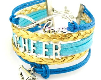 Leather bracelet with Cheer Charms