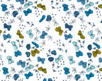 Organic Cotton Fabric by the Yard -- Cloud 9 Fabrics Butterflies (blue and green)