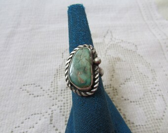 Vintage older heavy Navajo style  green turquoise  possibly royston silver ring size 6.75 Native American Indian